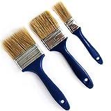 """Lot de 3 pinceaux universels à peinture avec manche laqué Bleu 1-2-2.5"""" Vernis et lasures à base de solvants."""