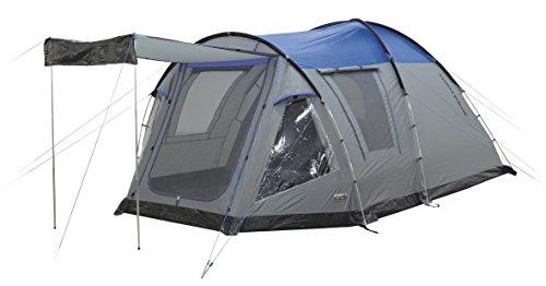High Peak Kuppelzelt Santiago 5, Campingzelt mit Wohn-/Stauraum, Familienzelt für 5 Personen, eingenähter Zeltboden, doppelwandig, 4.000 mm wasserdicht, Klarsichtfolienfenster mit Gardinen, Sonnendach