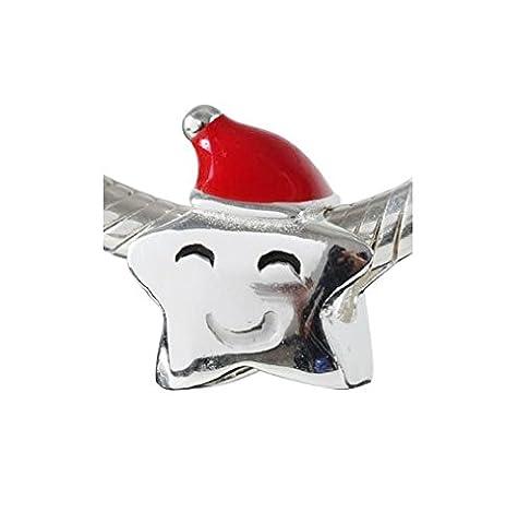 """Andante-Stones 925 Sterling Silber Bead Charm """"Christmas Star"""" Weihnachtsstern Element Kugel für European Beads + Organzasäckchen"""