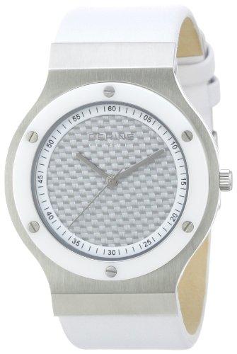 Bering Ceramic 32538-659 - Reloj analógico de cuarzo unisex, correa de cuero color blanco