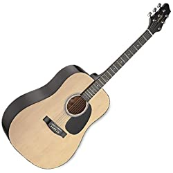 Stagg SW201N - Guitarra acústica con cuerdas metálicas (tipo dreadnought), color natural