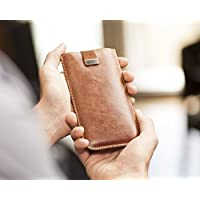 Leather cover for iPhone XR with pull band, slip case, sleeve pouch shell