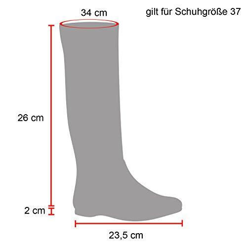 Stiefelparadies Stiefel Damen Stiefeletten Schnallen Nieten Stulpen High Heels Boots Trichterabsatz Schuhe Flandell Schwarz Schwarz