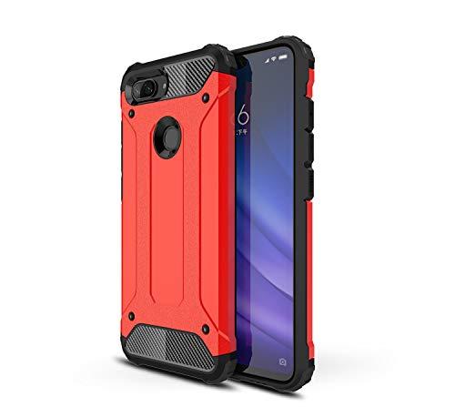 MIFANX Xiaomi Mi 8 Caso Lite, TPU Macio Interno + Duro PC Tampa Traseira Híbrido Dual Shockproof Capa Protetora para Xiaomi Mi 8 Lite (vermelho)