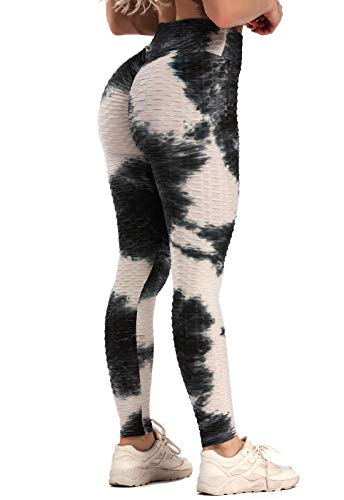 FITTOO Mallas Pantalones Deportivos Leggings Mujer Yoga de Alta Cintura Elásticos y Transpirables para Yoga Running Fitness Negro & Blanco S