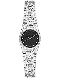Jean Bellecour – reds22 – Reloj Mujer – Cuarzo Analógico – Reloj Negro – pulsera acero bañado en plata