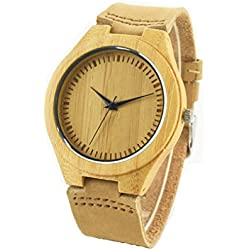 NectaRoy Retro Leather Fashion Bamboo Wooden Watch Japan Movement Quartz with Brown Cowhide Leather Band Casual Unisex Watches