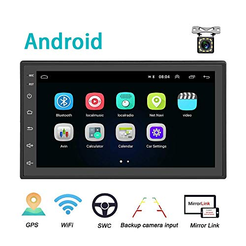 Android Autoradio 2 Din GPS CAMECHO Bluetooth WiFi 7-Zoll-kapazitiver Full-Touchscreen-FM-Radio-Player Spiegel Link für iOS/Android-Handys Backup-Kamera
