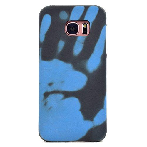 Felfy Kompatibel mit Galaxy S7 Edge Hülle Schutzhülle Matt Case Silikon Ultra Slim Weich TPU Cool Case mit Magisch Heat-Sensitive Farbwechsel Thermal Induction Stoßfest Cas,Schwarz Wird Blau Cool Silikon