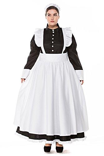 Damen Dienstmädchen grosse grössen Kostüm übergröße Kleid Frauen French Maid Anime Cosplay Zimmermädchen Karneval Fasching Schürze Schwarz Weiß (Weiße Schürze Kostüm)