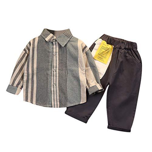 TTLOVE 2 Pcs Kleidung Kinder Baby Jungen Streifen Langarm T-Shirt Tops Hemd+Hosen Outfits Set Anzug Gentleman Festliche Hochzeit FüR FrüHling Herbst (Grau,80 cm)