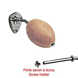 Savon beige exfoliant rotatif Provendi avec porte savon Vis - Ecrou