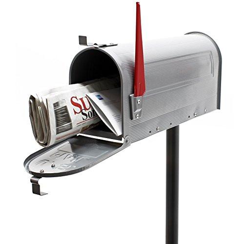 US Mailbox Briefkasten Amerikanisches Design silber mit passendem Standfuß