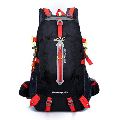 Wandern Reiserucksack Außen Mountaineering Tasche 40L Unisex Hochleistungs-Camping Rucksack Black