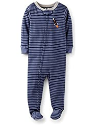 Carter's Baby Boys 1 Piece Cotton Striped Rocket Footie Pajama (12-24 Months) (12 Months) Color: Blue/Stripe-Rocket Size: 12 Months (Baby/Babe/Infant - Little ones)