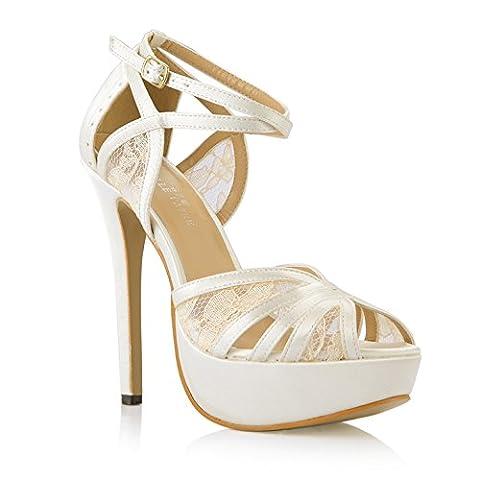 Nouvelles Sandales femme mariée le mariage à haut talon le bureau chaussures chaussures pointe poisson damassé crème, crème de soie blanche