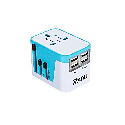 RAGU 4 USB Reiseadapter Internationaler Ladegerät Ladeanschlüsse & 8-Loch-Buchse / weltweite Anschlussstecker US/JP UK EU AU/CN mit Schmelzsicherung und Überspannungsschutz