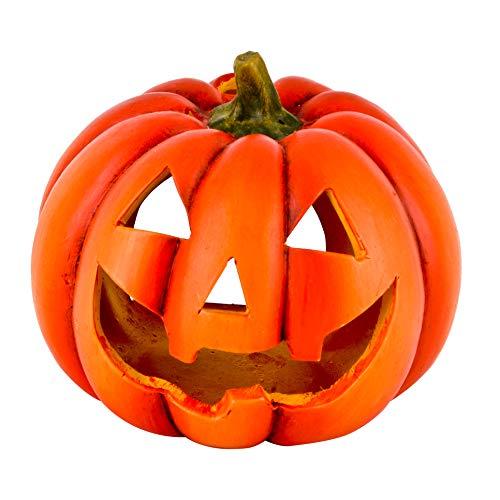 Dadeldo-Home Kürbis Deko-Objekt Herbst Halloween Keramik Orange (12x13x13cm)