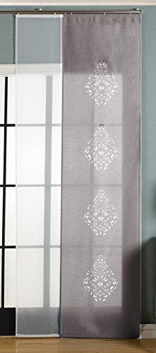2er-Pack Schiebegardine Flächenvorhang, Nantes Grau , 245x60 cm (HxB) Lasercut Wildseide Optik Voile inkl. Paneelwagen und Beschwerungsstangen, 1656100 (Ein Panel-grau-vorhänge)