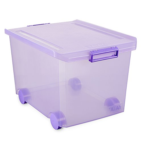 TATAY Caja de Almacenamiento con Ruedas, 60 L de Capacidad, 37,7 x 47,5 x 26, Color Lila Translúcida, Pp Libre de Bpa