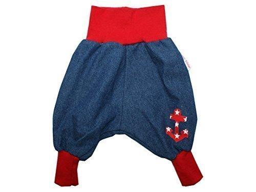"""Baby Jeanshose """"Anker"""" rot Gr. 62 - 104 von Kleine Könige Größe 98/104, Farbe weiß"""