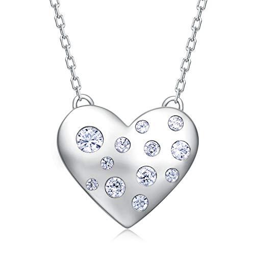 BlingGem d'amour Coeur Pendentif Collier pour Femme en Or Blanc Plaqué Argent 925/1000 avec Oxyde de Zirconium Rond Chaîne Réglable 45cm