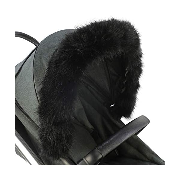 For-Your-Little-One Fur Hood Trim Pram Compatible on Baby Jogger, Black For-your-Little-One Universal faux fur Snap buttons to attach Deluxe feel 1