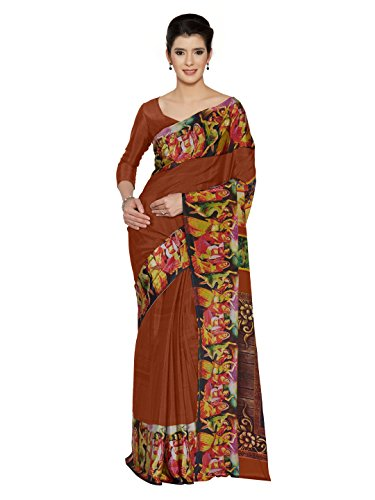 SOURBH Women's Crepe Silk Digital Border Print Saree (5872_Orange)