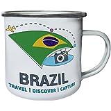 Nuevo Brasil Travel Descubre Retro, lata, taza del esmalte 10oz/280ml m421e