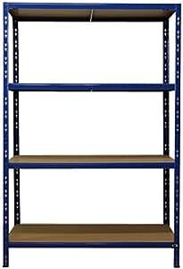 rayonnage pour charges lourdes 180 x 120 x 60 cm bleu 4 tablettes 175 kg atelier tag re. Black Bedroom Furniture Sets. Home Design Ideas