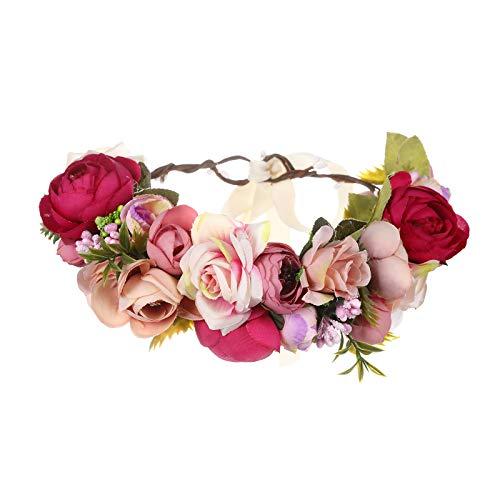 AWAYTR Blumen Stirnband Hochzeit Haarkranz Krone - Frauen Mädchen Blumenkranz Haare für Hochzeit Party (Rosenrot + Pink)