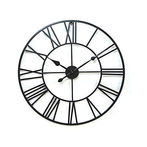 Yxmxxm stunning orologio in metallo stile romano orologio in metallo stile retrò, non ticchettante orologio da parete grande con movimento muto - nero,50cm/19.6