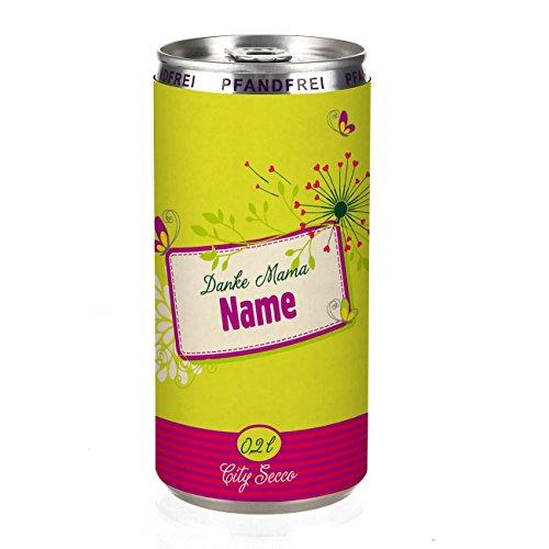 City Secco in der Dose Danke Mama zum Muttertag mit Wunschname (weiß trocken) 200 ml
