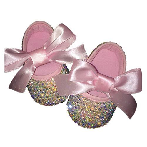 Dollbling Erröten Rosa Riband AB Kristall Ballett Kleine Magd Sapatos Fairy Taufe Baby Mädchen ()
