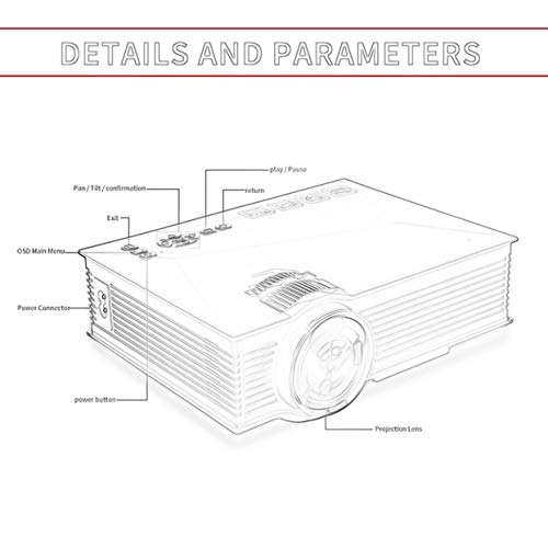 UC46  Mini 1080P HD Projector 1200LM LED Projector Video Home Theater Projector Built-in Wifi For Laptop PC VGA USB