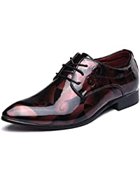8da3ffc380ced Chaussure Homme Cuir, Lacets Derby Mariage Cuir Vernis Dressing Oxford  Business Marron Rouge Bleu Gris
