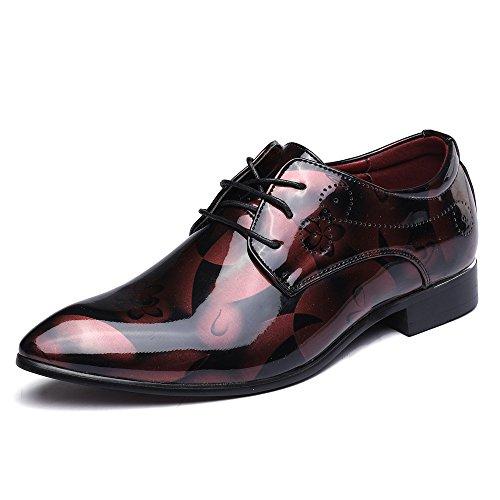 Scarpe uomo pelle, derby stringate basse elegante sera oxford vintage verniciata marrone blu grigio rosso 37-50eu rd46