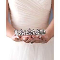 Simsly HG-25 - Diadema para mujer y niña, diseño de corona y tiara