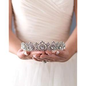 simsly Hochzeit Tiara Brautschmuck Blumen Kronen für Frauen hg-25 (Silver)