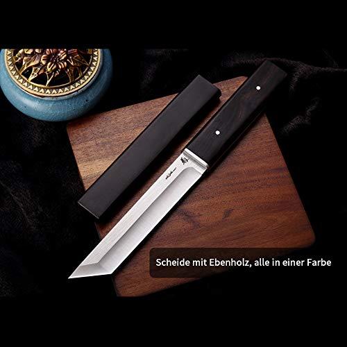 NedFoss Tanto Messer SONGTIAN, Japanische Jagdmesser scharf, D2 Messer Tanto mit Scheide, 59-60HRC, Extra scharf
