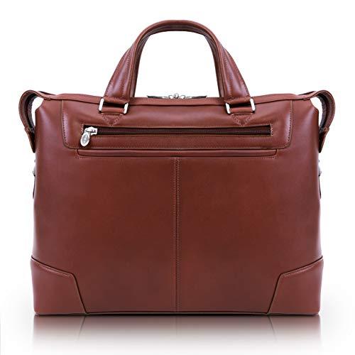 Slim Laptop Briefcase, Leather, Small, Brown - Arcadia   Mcklein - 88764 -