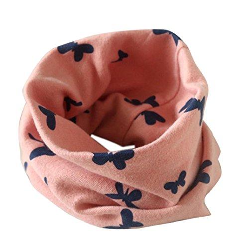 Preisvergleich Produktbild Kolylong Kinder Boy and Girls Baumwolle Schmetterlingsdruck Kragen O-Ring Schals (2 bis 10 Jahre alt.) Pink
