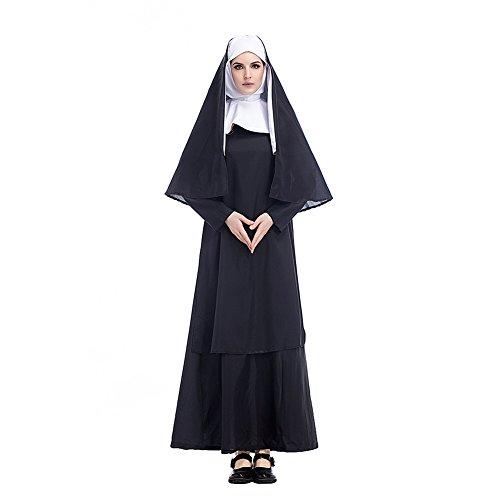 FUMAN Damen Nonnenkostüm Klosterfrau Kostüm 3-TLG. schwarz-weißes Kleid mit Kopftuch und Schal (Kostüm Mit Kleid Weiss)