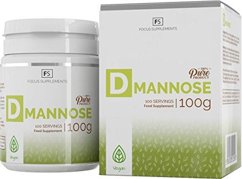 D-mannosio pura polvere al 100% [100 g], Salute vescica | Infezione urinaria | Sistema immunitario | Trattamento mirtilli rossi senza additivi | Focus Supplements | vegano, senza glutine e lattosio