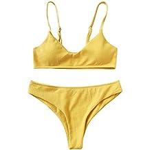 a11c0ae618 ZAFUL Conjunto De Bikini Bralette Push Up con Relleno Tirantes Ajustables  Dos Piezas Traje de Baño