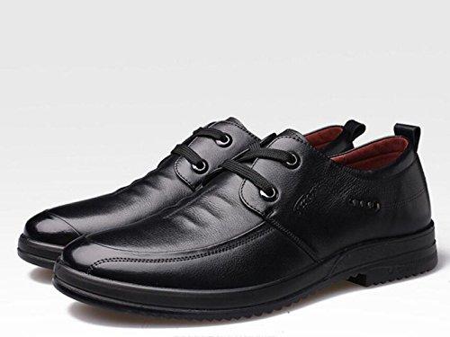 GRRONG Chaussures En Cuir Pour Hommes Loisirs En Cuir Véritable Mode Noir Brun Black