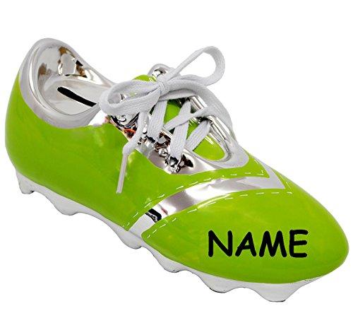 alles-meine.de GmbH 3-D Effekt _ Spardose -  Fußballschuh / Sportschuh - Schuh - grün  - incl. Name - mit echten Schnürsenkel ! - stabile Sparbüchse aus Porzellan / Keramik - F..