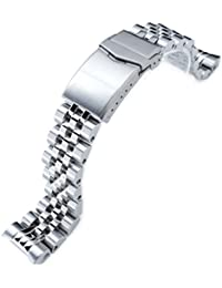 20mm ANGUS Jubilee Watch Bracelet for Seiko MM300 SBDX001, Brushed/Polished, V-Clasp