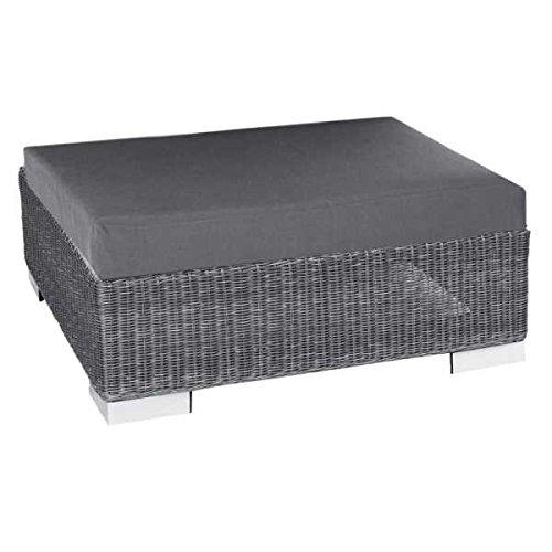 Stern Lounge-Hocker Avola mit Geflecht basaltgrau und Kissen 100% Polyester Dessin grau