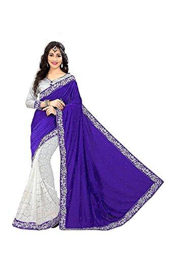 Modern Style women's Blue velvet & White russel net saree with border...